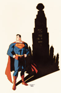 Superman against the silhouette of Metropolis