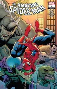 Spider-Man swings upside-down pursued by some of his most famous foes