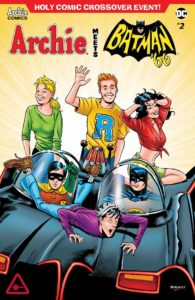Archie Meets Batman '66 #2: The Batman of Riverdale Cover B. Written by Michael Moreci and Jeff Parker, drawn by Dan Parent. Archie Comics and DC Entertainment. August 15, 2018