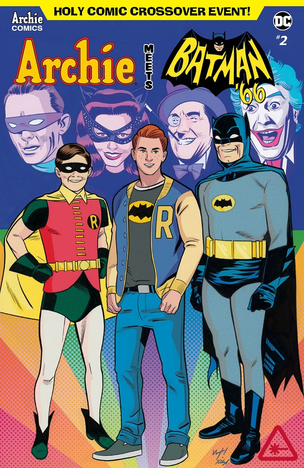 Archie Meets Batman '66 #2: The Batman of Riverdale Cover E. Written by Michael Moreci and Jeff Parker, drawn by Dan Parent. Archie Comics and DC Entertainment. August 15, 2018