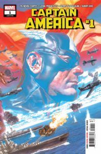 Captain America in costume over a background of an American flag and WWII-era planes and warships