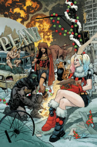 Batman, Wonder Woman and Harley celebrating Christmas in the Post-Apocalypse