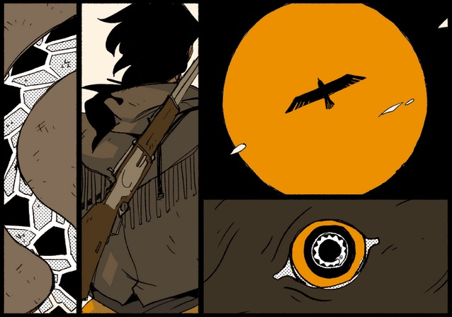 Four panels from Hotblood!: Zarco. The first shows a rattlesnake's body against a brown background, the second shows US Marshall Zarco's back with a gun slung across it, the third shows a bird silhouetted against the sun, and the fourth shows an eye with a snake eating its tail inside.