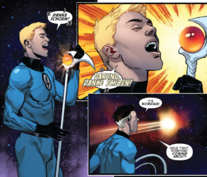 Panel of Johnny Storm singing Danke Shoen from Fantastic Four #1, Dan Slott and Sara Pichelli.