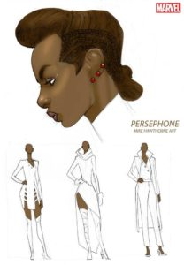 Persephone character designs by Mike Hawthorne for Marvel Comics 2018