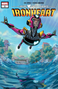 Cover for Ironheart #1 - Riri Williams flies across the water