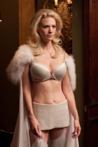 January Jones as Emma Frost in a hideous bra