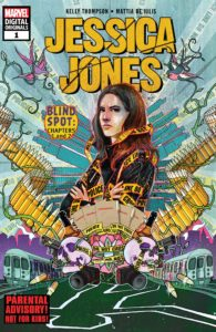Jessica Jones stands with her arms crossed, surrounded by symbols of death