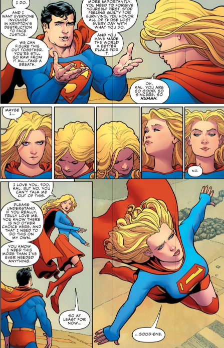 Superman and Supergirl share a heart to heart about her survivor's guilt and her decision to find the truth about Krypton