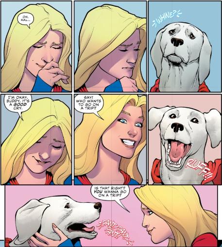 Supergirl and Krypto sharing a heartfelt moment