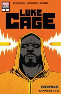 Luke Cage faces forward with two bullets coming at his head