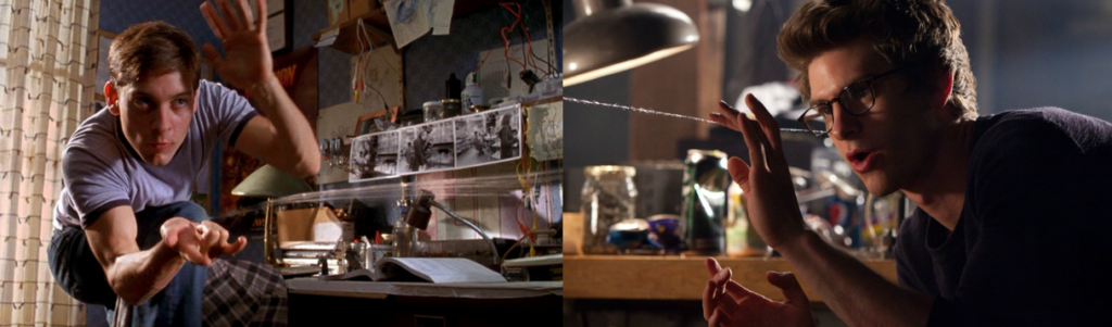 Side by side shots of Peter Parker and his webs. On the left, Tobey Maguire in Spider-Man (2002). On the right, Andrew Garfield in The Amazing Spider-Man (2012).