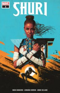 Shuri does the Wakandan salute of crossed arms over her chest