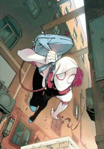 Gwen Stacy, in her iconic costume, swings down the side of a building.