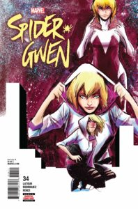 Spider-Gwen in three poses, kneeling, standing, and dramatically removing her hood.