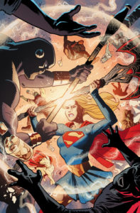 Supergirl in a bar fight, aided by Krypto