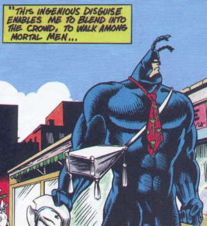 The Tick in disguise, wearing a tie over his costume