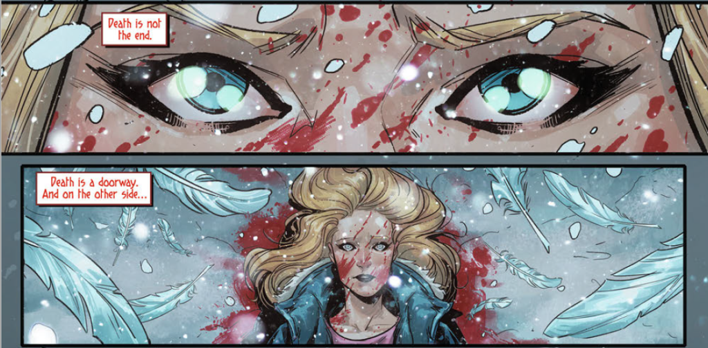 Panels from Witchblade Volume 1 (Top Cow Productions 2017) in which the main character's narration states that Death is not the end but a doorway