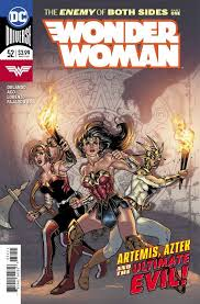Artemis, Wonder Woman, and Aztek holding torches, their backs to a wall