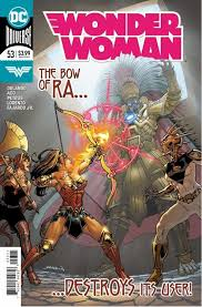 Wonder Woman shooting the Dark God with the Bow of Ra as Artemis and Aztek watch