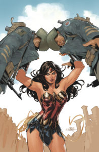 Wonder Woman bashing the heads of two soldiers together