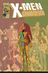 Jean Grey surrounded by her teammates, one half of her is in her original costume, one half of her is the Phoenix