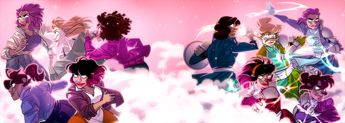 A banner-style image of the cast of Agents of the Realm. On the right side of the image, they're dressed in school clothes; on the left, they're in their magical girl costumes. Art by Mildred Louis.