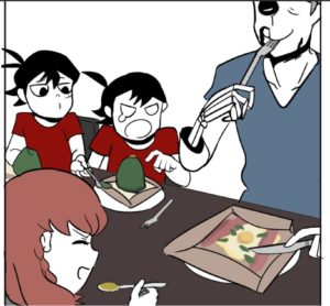 four people of varying degrees of aliveness and chagrin eat together around a table.