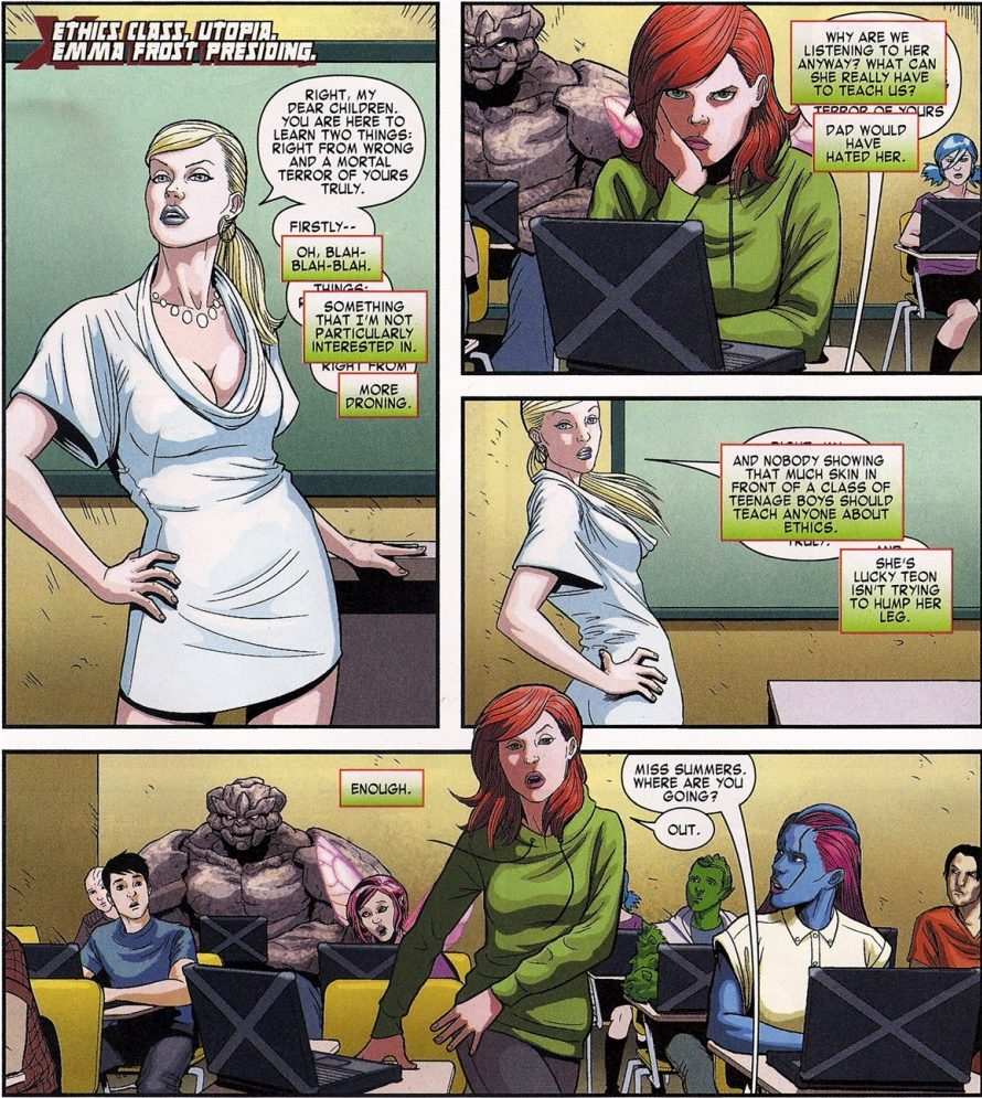 Hope Summers is displeased with Emma Frost's classroom attire