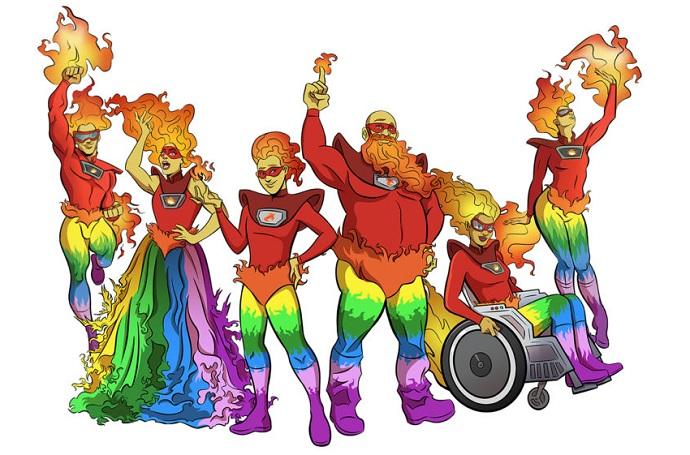 Flame Con mascots
