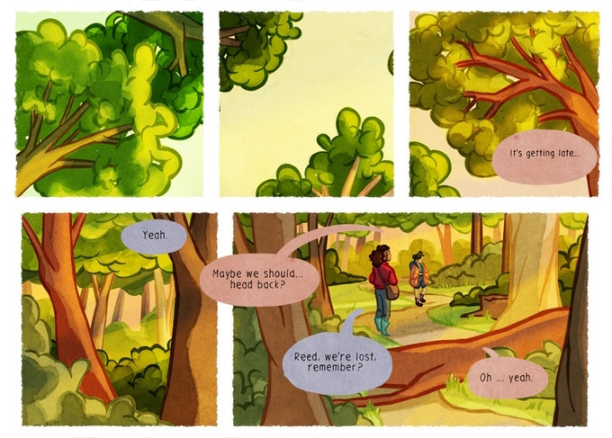 A set of five panels from Getting Lost. The three in the first row depict trees and the sky, viewed from below. The bottom two show two figures in the midst of a conversation. Panels from Getting Lost, Izzi Ward, 2018.