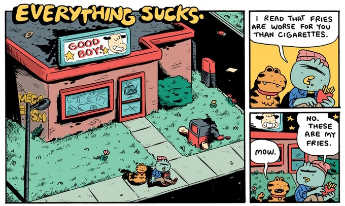 "A snippet of a comic appearing in Good Boy! Magazine, Issue 1. The title, on the upper left of the image, reads ""Everything Sucks;"" the first panel features a convenience store with ""Good Boy!"" on its sign. Art from Good Boy! Issue 1."