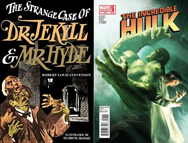 Cover to The Incredible Hulk #7.1 by Michael Komarck next to a cover of a pulp edition of Robert Lewis Stevenson's The Strange Case of Dr. Jekyll & Mr. Hyde