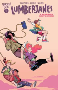 Cover for Lumberjanes - The Lumberjanes on swing-sets, two to a swing, with one jumping free of the swing at the highest point