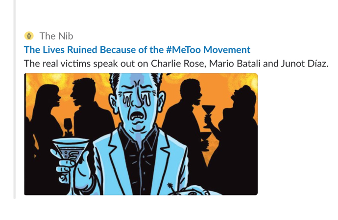 "A screenshot of the featured image for The Lives Ruined by the #MeToo Movement. The art, by Ward Sutton, depicts a weeping man holding a martini. The logline reads ""The real victims speak out on Charlie Rose, Mario Batali and Juno Díaz."""