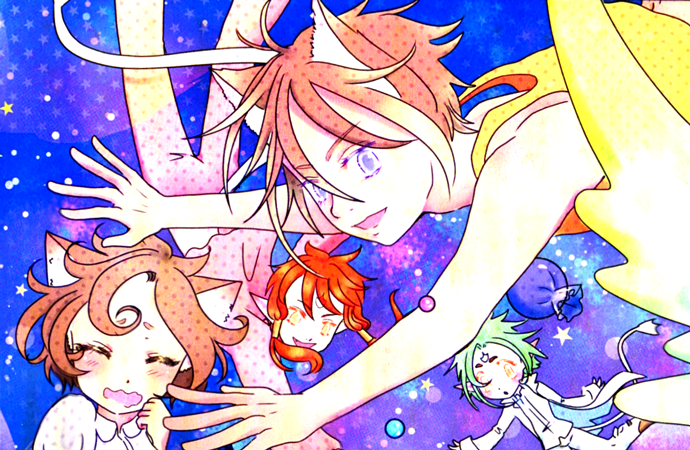 A colorful collection of some of the side characters of Magical Princess Sky, floating against a galaxy-colored backdrop.