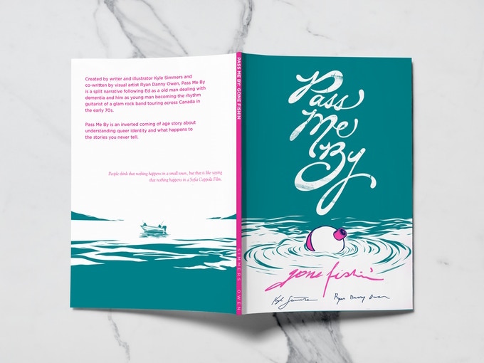 A mockup of Pass Me By: Gone Fishin', laid flat so that both the front and back cover are visible. The cover is two toned (pink and dark teal), and the front depicts a fishing bobber floating in the water. On the back, a boat sits in the middle of a lake. Pass Me By: Gone Fishin, Kyle Simmers and Ryan Danny Owen, 2018.