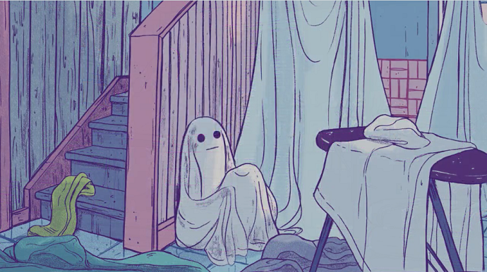 A ghost sits among sheets
