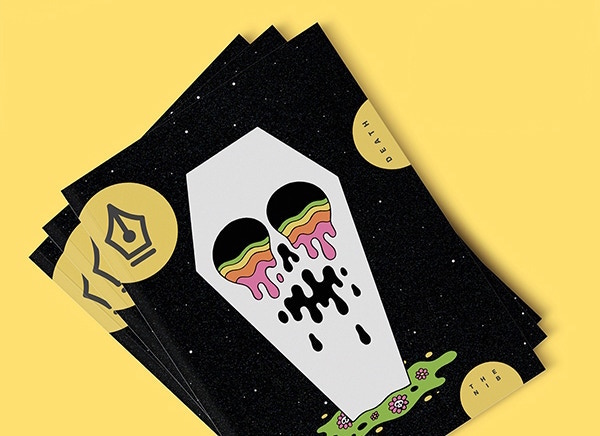 A mock-up of a pile of three copies of The Nib Magazine Issue 1: Death. The cover depicts a white coffin, crying rainbow slime, on a black background.