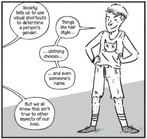Picture of Archie with text stating society teaches us to use visual shortcuts to determine a person's gender