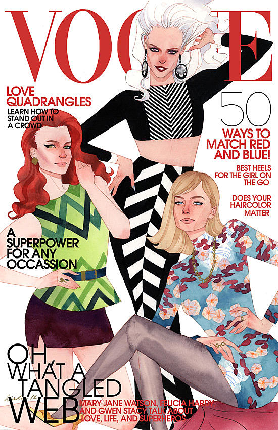 The Spider Ladies on the cover of Vogue, by Kevin Wada