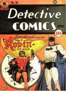 The introduction of Robin in Detective Comics #38 (DC Comics, April 1940)