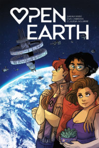 Cover of Open Earth, in which three people stand arm-in-arm against a backdrop of a space shuttle and view of the earth from space