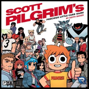 The cast of Scott Pilgrim wearing various expressions with Scott in the foreground giving a thumbs-up