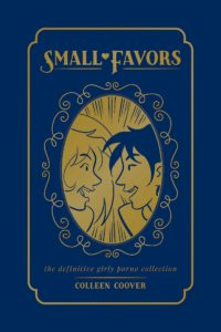 The cover for Small Favors, in which two heads (one blonde, one with dark hair) face each other and laugh