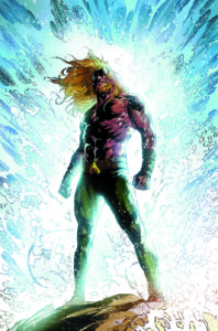Aquaman silhouetted against a crashing wave
