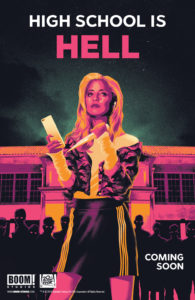 "A teaser poster featuring Buffy illustrated in pink and yellow, holding a stake in one hand and a smartphone in the other. The caption at the top reads ""High School is Hell"""