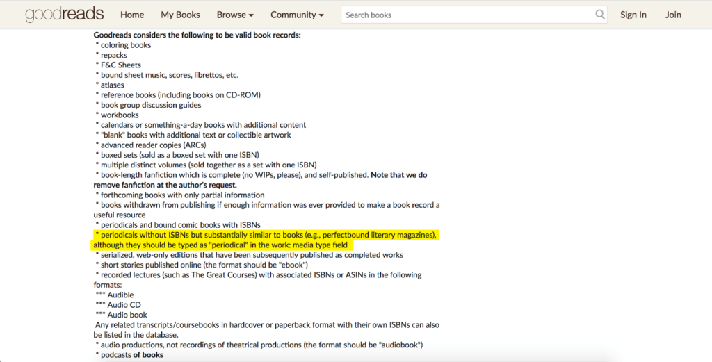 Screenshot of Goodreads Librarian Manual
