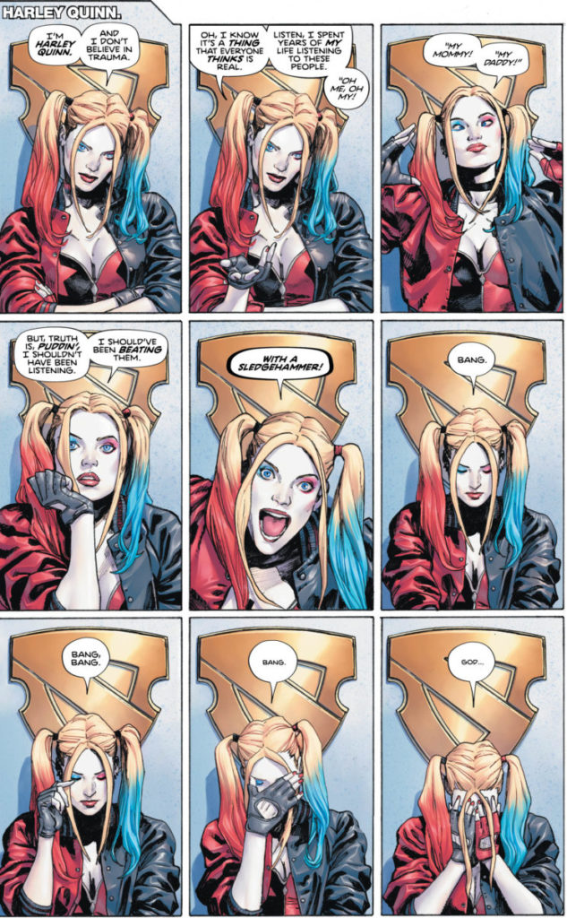 Nine panels of Harley's confession