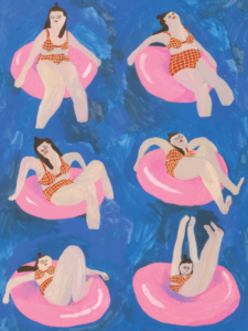 Series of six images of Tara in a pink inner tube.